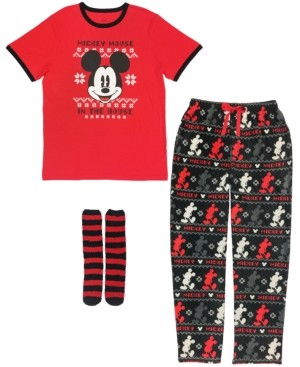 Disney The Mickey Mouse Men's 3 Pieces Pajama Set, Online Only