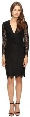 Adelyn Rae Women's Longsleeve V Neck Lace Dress