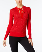 MICHAEL Michael Kors Embellished Tie-Neck Sweater