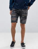 Asos Slim Denim Shorts With Extreme Rips In Washed Black