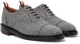 Thom Browne Cap-toe Herringbone Shetland Wool Oxford Shoes - Gray