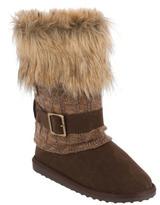 Muk Luks Women's Gaby Fur top Knit Spat Boot - Camel