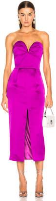 Rasario Strapless Corset Midi Dress in Purple | FWRD