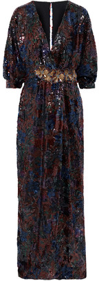 Costarellos Wrap-effect Floral-appliqued Sequined Chiffon Gown
