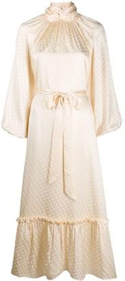 Zimmermann Tie Waist Polka Dot Print Silk Dress