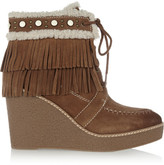 Sam Edelman Kemper Faux Shearling-lined Fringed Suede Wedge Boots - Tan