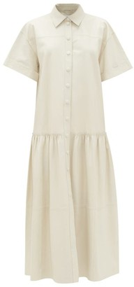 Stand Studio Lauren Tiered Leather Shirt Dress - Ivory