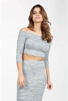 Select Fashion Fashion Womens Grey Coord Spacedye Bardot Long Sleeve Top - size 14