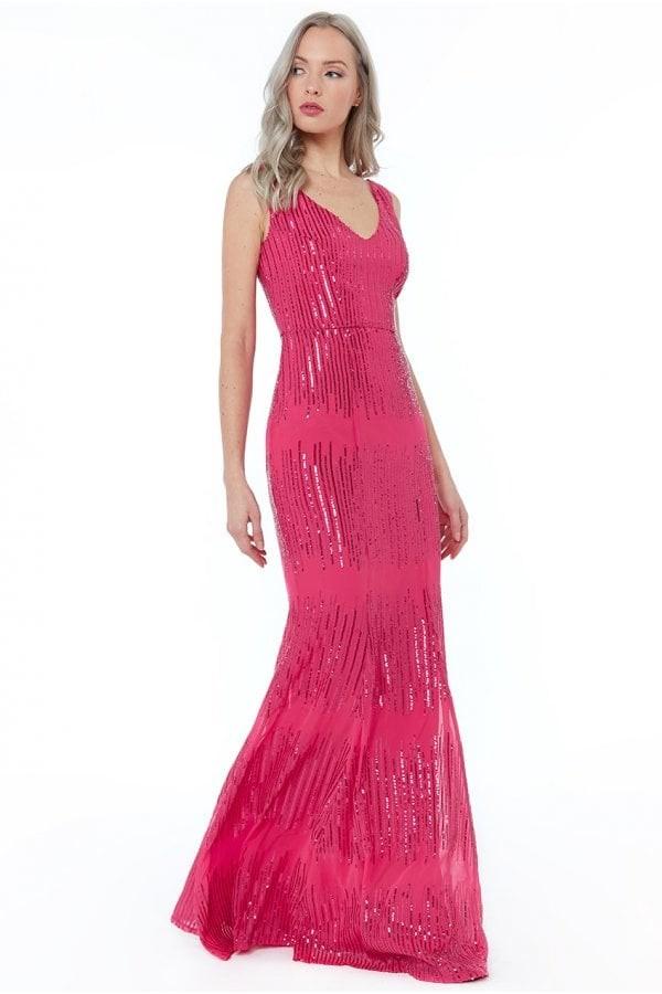Goddiva Cerise Sleeveless Sequin V Neck Maxi Dress