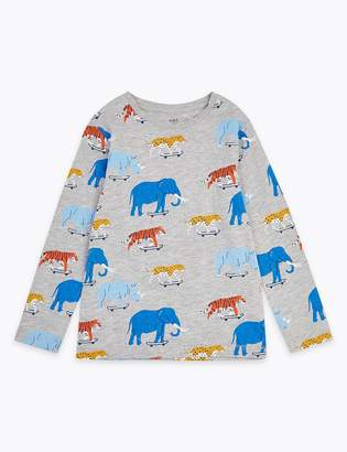 Marks and Spencer Cotton Rich Wild Animal Long Sleeve Top (2-7 Years)