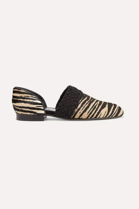 Loewe Flex D'orsay Braided Tiger-print Calf Hair Loafers - Sand