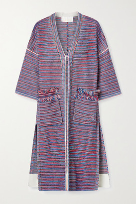 Chloé Fringed Striped Tweed Coat - Red