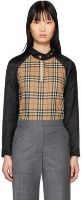 Burberry Beige and Black Gabardine Shirt