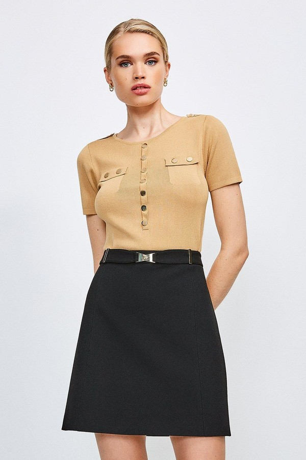 Thumbnail for your product : Karen Millen Forever Cinch Belted A Line Skirt