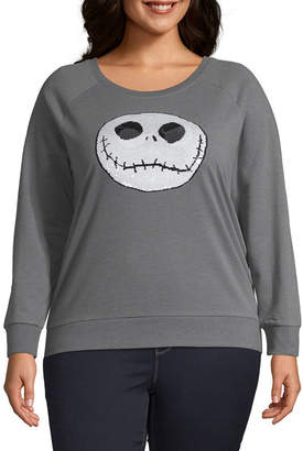 BIO Juniors Plus Womens Crew Neck Long Sleeve Nightmare Before Christmas Sweatshirt