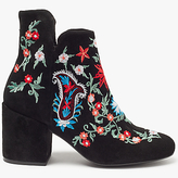 Pieces Pepper Embroidered Suede Boots, Black