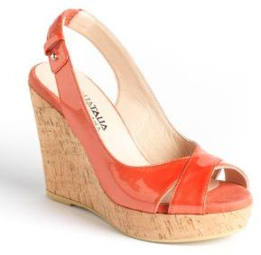Aquatalia by Marvin K AQUATALIA Hannah Patent Leather Cork Wedge Platform Pumps