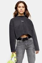 Topshop Womens Petite Charcoal Grey Paris Raw Hem Sweatshirt - Charcoal