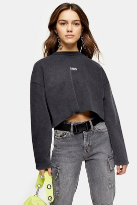 Topshop PETITE Charcoal Grey Paris Raw Hem Sweatshirt