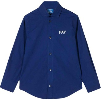 Fay Blue Teen Shirt With Curved Hem