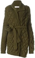 A.F.Vandevorst cable knit belted cardigan - women - Virgin Wool - 36