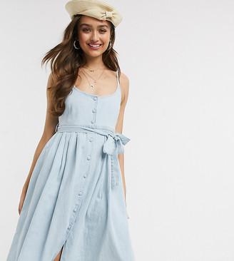 Asos DESIGN Petite soft denim midi dress in midwash blue