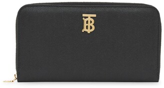 Burberry Monogram Motif Grained Leather Wallet