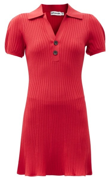 Self-Portrait Puff-sleeve Rib-knit Polo Mini Dress - Red