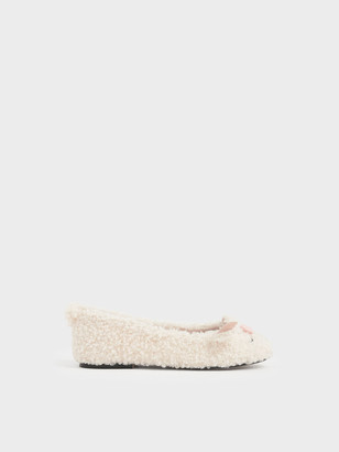 Charles & Keith Girls' Nellie The Lamb Furry Ballerina Flats