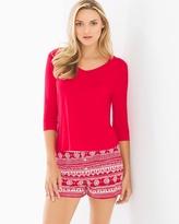 Soma Intimates Cool Nights Boxer Shorts Pajama Set Adorn Stripe Festive Red