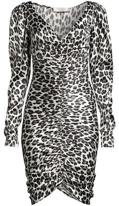 Caroline Constas Colette Animal-Print Stretch Silk Dress