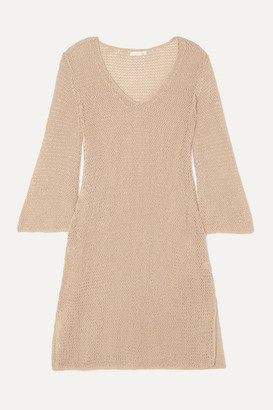 Skin Lenora Crocheted Cotton Mini Dress - Neutral