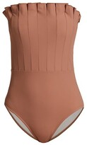 Thumbnail for your product : Karla Colletto Swim Lana Pleated Bandeau One-Piece Swimsuit