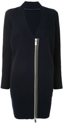 Sacai Zipped Contrast Panel Cardigan