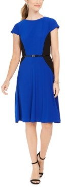 Jessica Howard Belted Colorblocked Fit & Flare Dress