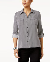 NY Collection Petite Top, Three-Quarter-Sleeve Striped Shirt