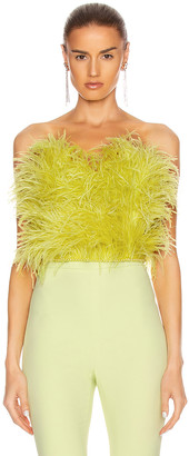 ATTICO Ostrich Feather Strapless Top in Lime | FWRD
