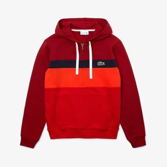 Lacoste Men's Colorblock Fleece Zippered Hooded Sweatshirt