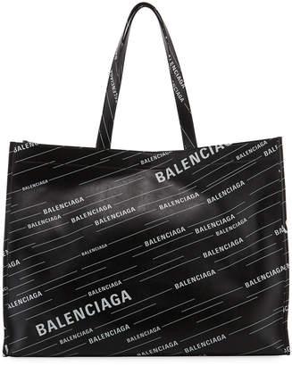 Balenciaga Men's Market Shopper Logo Tote Bag