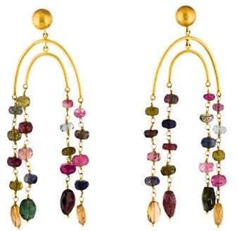 Yossi Harari 24K Multicolor Tourmaline, Iolite & Garnet Chandelier Earrings