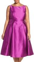 Adrianna Papell Plus Size Women's Sleeveless Mikado Fit & Flare Midi Dress