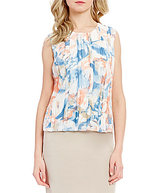 Calvin Klein Petites Floral Print Double Layer Pleated Chiffon Top