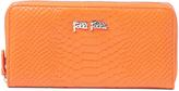 Folli Follie Orange Snake-Embossed Zip Wallet