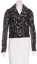 Diane von Furstenberg Leather-Accented Moto Jacket