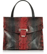 Ghibli Red Python Leather Top Handle Satchel Bag
