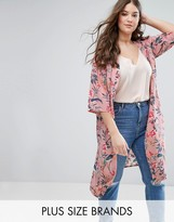 New Look Plus Floral Bird Print Lightweight Duster