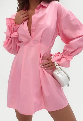 Missguided Pink Tie Sleeve Skater Shirt Dress