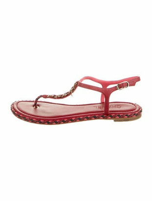 Chanel Chain-Link Accent Leather T-Strap Sandals Red
