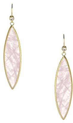 Rivka Friedman 18K Yellow Goldplated Rose Quartz Marquise Drop Earrings