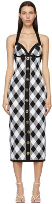 Balmain Black and White Gingham Halter Dress